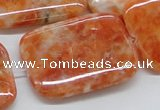 CCA61 15.5 inches 30*40mm rectangle orange calcite gemstone beads