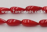 CCB141 15.5 inches 5*11mm teardrop red coral beads wholesale