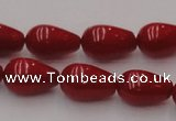 CCB144 15.5 inches 7*11mm teardrop red coral beads wholesale