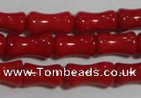 CCB51 15.5 inches 6*10mm bamboo shape red coral beads Wholesale
