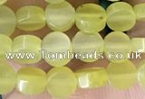 CCB514 15.5 inches 4mm coin lemon jade beads wholesale