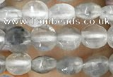 CCB533 15.5 inches 4mm faceted coin cloudy quartz beads