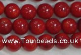 CCB55 15.5 inches 4-6mm round red coral beads Wholesale