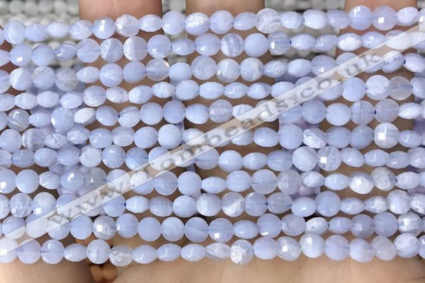 CCB551 15.5 inches 4mm faceted coin blue lace agate beads