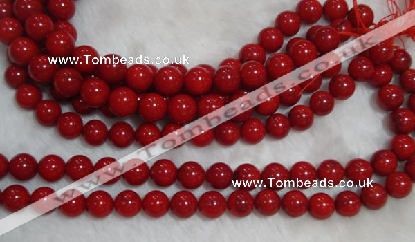 CCB58 15.5 inches 13-14mm round red coral beads Wholesale