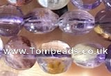 CCB603 15.5 inches 6mm faceted coin purple phantom quartz beads