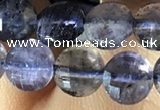 CCB606 15.5 inches 6mm faceted coin iolite gemstone beads