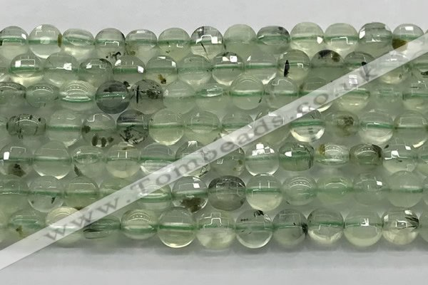 CCB687 15.5 inches 10mm faceted coin prehnite gemstone beads