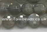 CCB706 15.5 inches 6mm faceted coin labradorite gemstone beads