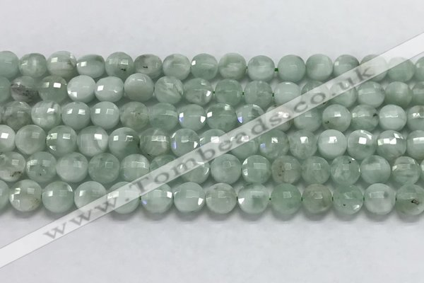 CCB708 15.5 inches 6mm faceted coin green angel skin gemstone beads