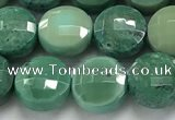 CCB730 15.5 inches 8mm faceted coin grass agate gemstone beads