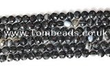 CCB754 15.5 inches 8mm faceted coin black line agate beads
