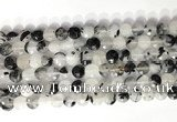 CCB758 15.5 inches 8mm faceted coin black rutilated quartz beads