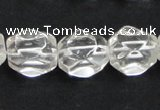 CCC216 13*18mm faceted nugget grade AB natural white crystal beads
