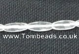 CCC265 6*16mm faceted rice grade A natural white crystal beads