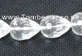CCC275 10*14mm faceted teardrop grade A natural white crystal beads