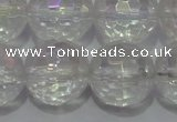 CCC415 15.5 inches 14mm faceted round AB-color white crystal beads