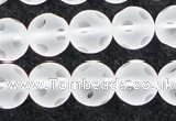 CCC609 15.5 inches 12mm faceted round matte natural white crystal beads