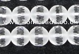 CCC613 15.5 inches 10mm faceted round matte natural white crystal beads