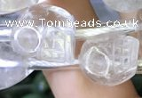CCC631 15.5 inches 12*14*14mm skull white crystal gemstone beads