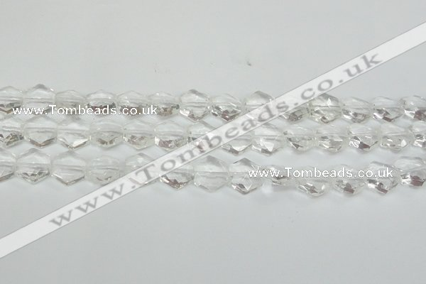 CCC750 15.5 inches 14*14mm faceted hexagon natural white crystal beads