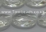 CCC805 15.5 inches 18*25mm faceted oval natural white crystal beads