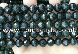 CCJ346 15.5 inches 12mm faceted round dark green jade beads