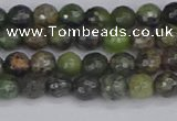 CCJ420 15.5 inches 4mm faceted round dendritic green jade beads