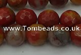 CCJ463 15.5 inches 10mm faceted round colorful jasper beads