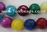 CCN1007 15.5 inches 16mm faceted round multi colored candy jade beads