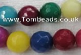 CCN1009 15.5 inches 20mm faceted round multi colored candy jade beads