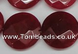 CCN273 15.5 inches 25mm faceted coin candy jade beads wholesale