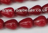 CCN3764 15.5 inches 10*14mm teardrop candy jade beads wholesale