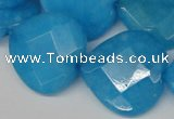 CCN377 15.5 inches 25*25mm faceted heart candy jade beads wholesale