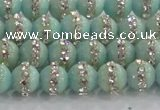 CCN4610 15.5 inches 6mm round candy jade with rhinestone beads