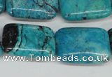 CCO194 15.5 inches 22*30mm rectangle dyed natural chrysotine beads