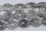 CCQ145 15.5 inches 10*14mm oval cloudy quartz beads wholesale