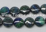 CCS63 16 inches 12mm flat round dyed chrysocolla gemstone beads