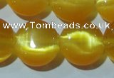CCT515 15 inches 10mm flat round cats eye beads wholesale