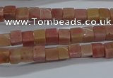 CCU308 15.5 inches 4*4mm cube pink wooden jasper beads wholesale
