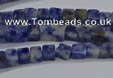 CCU313 15.5 inches 4*4mm cube blue spot stone beads wholesale