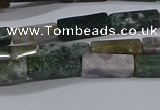 CCU713 15.5 inches 4*13mm cuboid moss agate beads wholesale