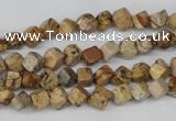 CCU95 15.5 inches 4*4mm cube picture jasper beads wholesale