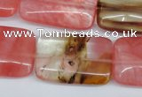 CCY222 15.5 inches 20*30mm rectangle volcano cherry quartz beads
