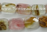 CCY432 15.5 inches 13*18mm faceted rectangle volcano cherry quartz beads