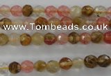 CCY501 15.5 inches 6mm faceted round volcano cherry quartz beads