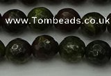 CDB312 15.5 inches 8mm faceted round dragon blood jasper beads