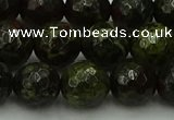 CDB314 15.5 inches 12mm faceted round dragon blood jasper beads