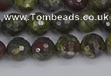 CDB322 15.5 inches 8mm faceted round dragon blood jasper beads