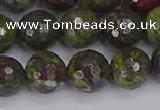 CDB324 15.5 inches 12mm faceted round dragon blood jasper beads